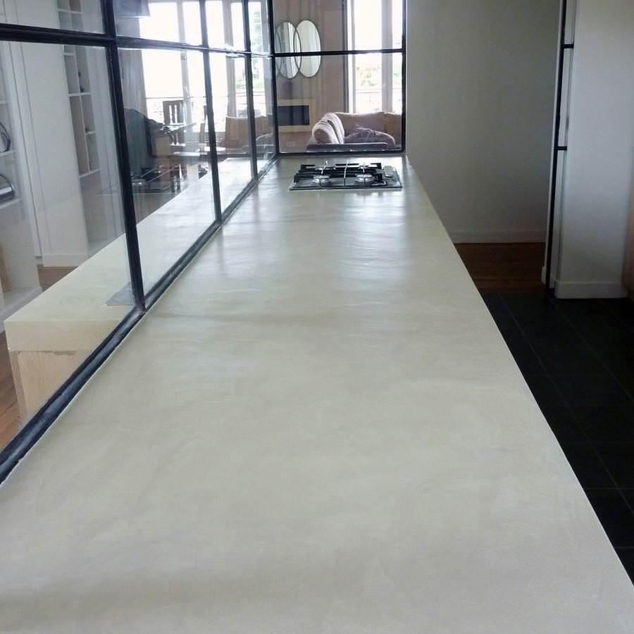 Beton Ciré Blanc Plan De Travail béton ciré - enduit béton coloré (ebc) - couleur sugar - le/shot 5,35kg  jusqu'à 2.5m²