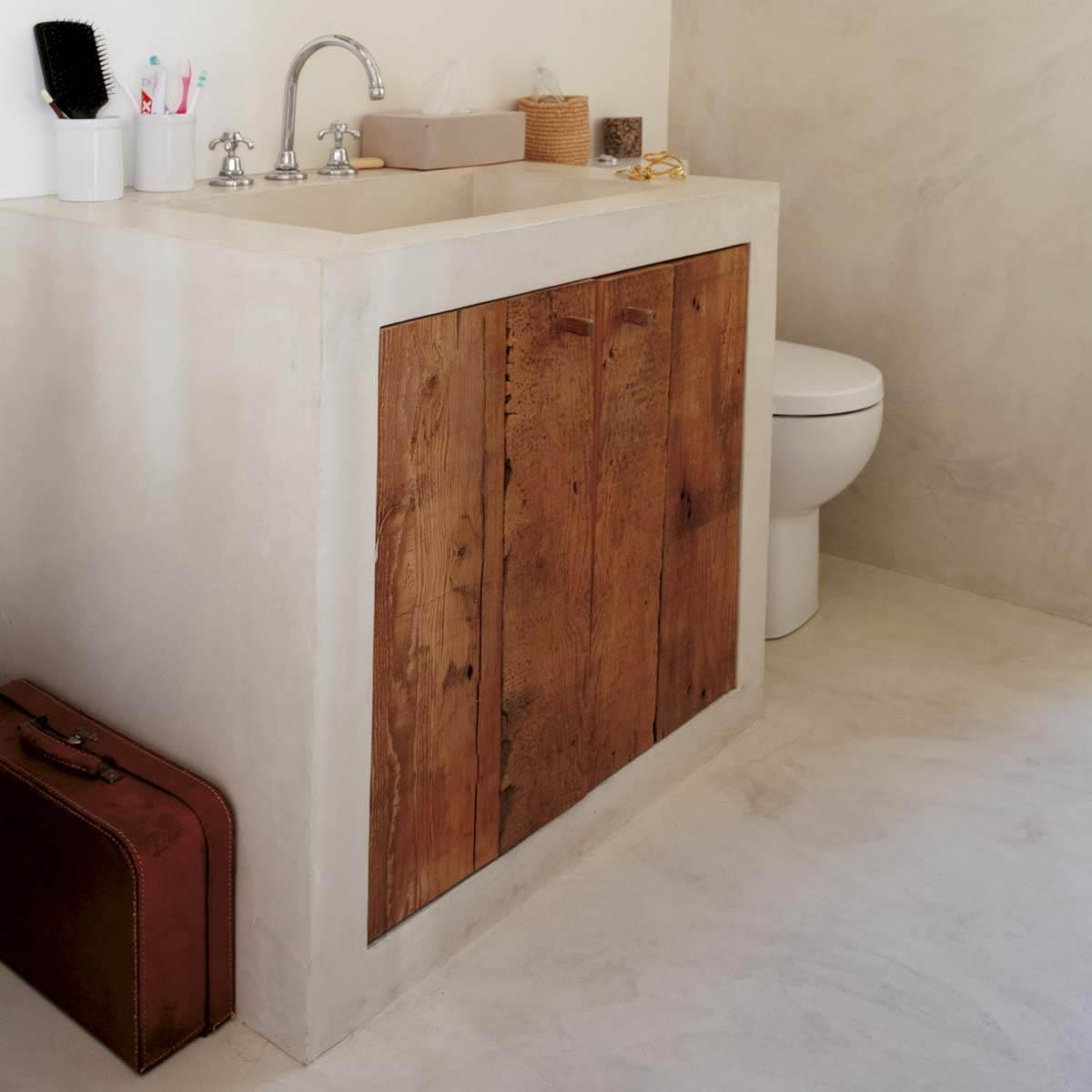 Beton Ciré Salle De Bain mercadier - béton ciré - kit sol extérieur & pièce d'eau - support poreux  lisse cocomilk - jusqu'à 1